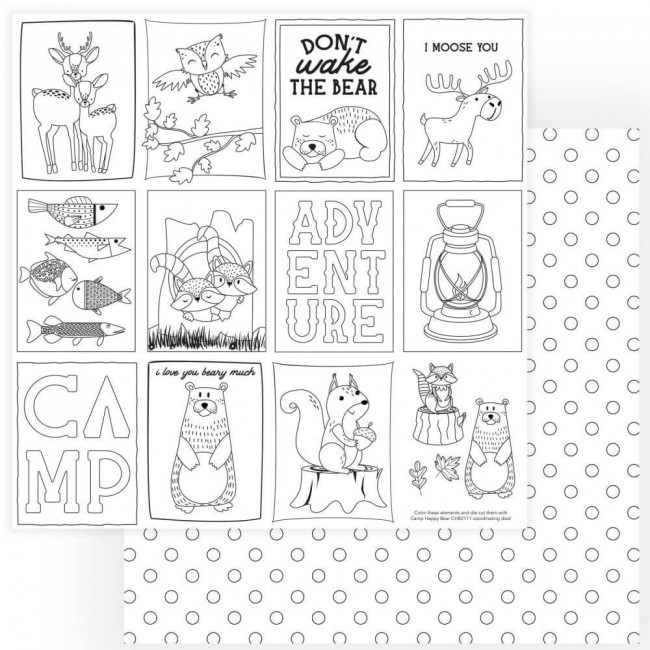 Papier Imprimé Recto-verso 12x12 Camp Happy Bear Color Me