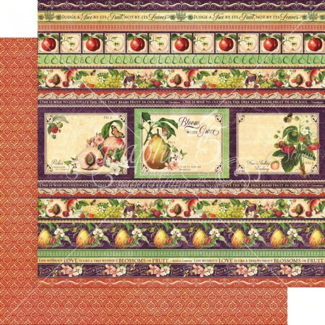 Papier Imprimé Recto-verso 12x12 Fruit & Flora Fabulous Fruit