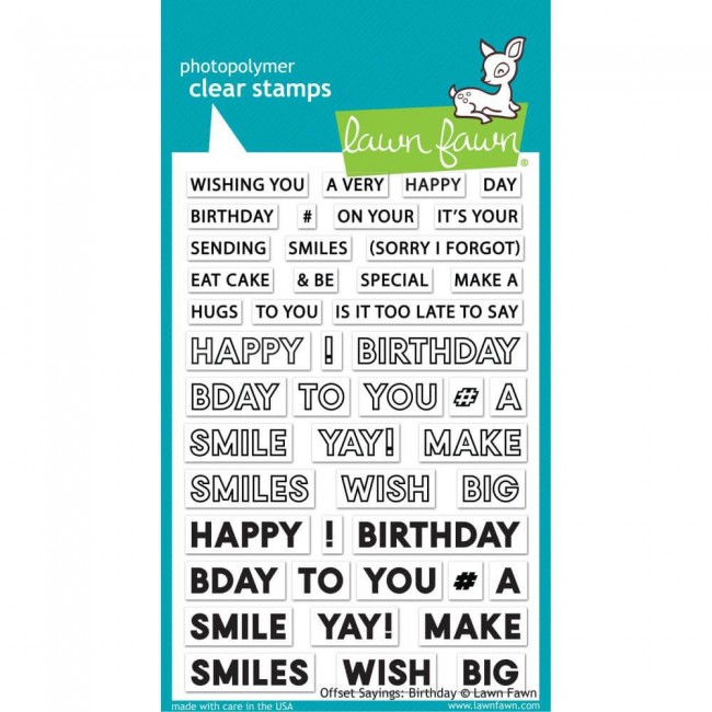 Tampon Acrylique 4x6 Lawn Fawn Offset Sayings: Birthday