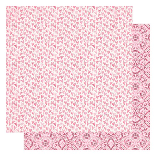 Papier Imprimé Recto-verso 12x12 Flawless #5 Pink Watercolor Hearts