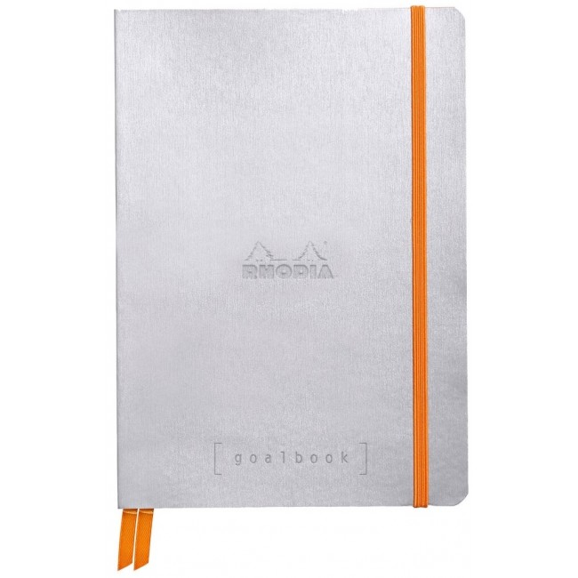 Cahier à Points A5 Rhodia GoalBook - Argent
