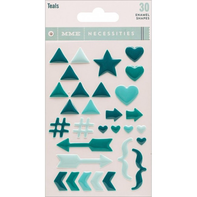 Necessities Teals Enamel Shapes