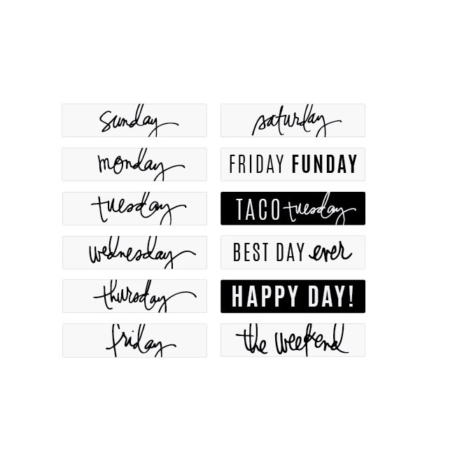 Diapositives Lightbox - Script Days Of The Week & Occasions