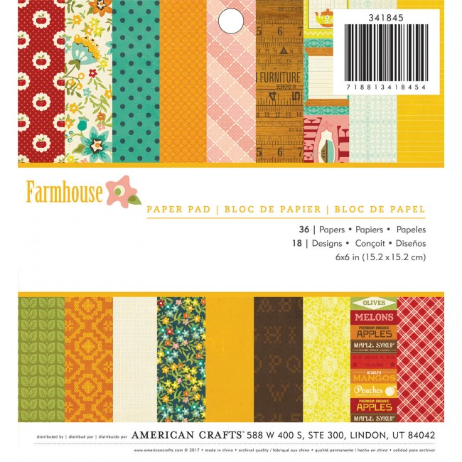 Stack Papiers Imprimés 6x6 Farmhouse