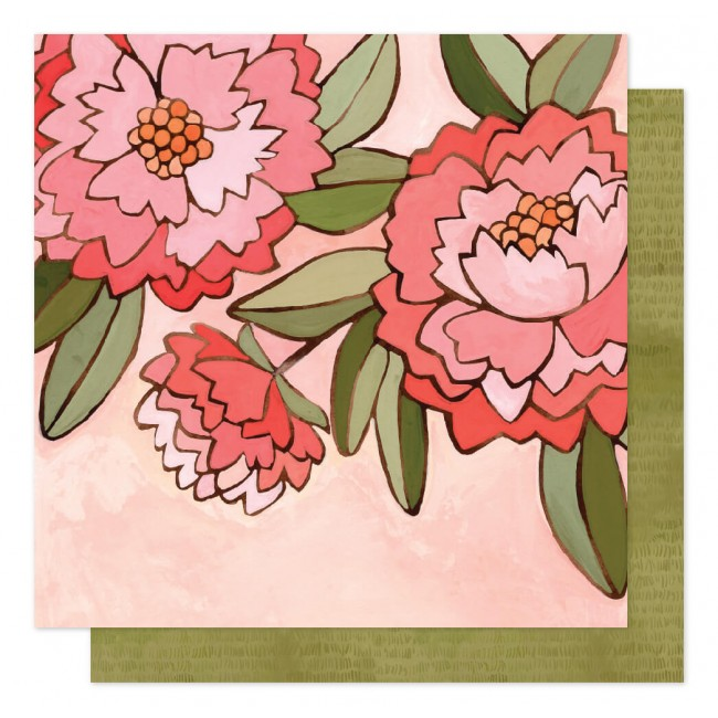 Papier Imprimé Recto-verso 12x12 Saturday Afternoon Pink Peony