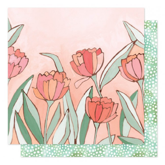 Papier Imprimé Recto-verso 12x12 Saturday Afternoon Double Tulips