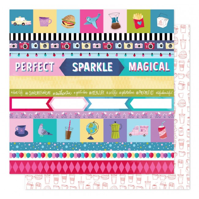 Papier Imprimé Recto-verso 12x12 Sparkle City Perfect Day