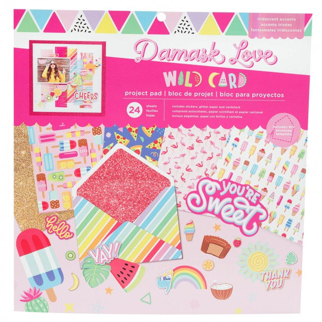 Stack Papiers Imprimés 12x12 Wild Card Damask Love Project Pad