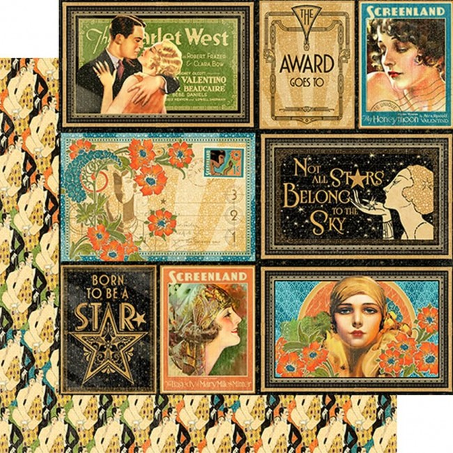 Papel Estampado Doble Cara 12x12 - Vintage Hollywo