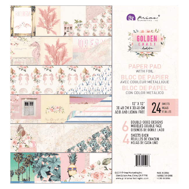 Stack Papiers Imprimés 12x12 Golden Coast