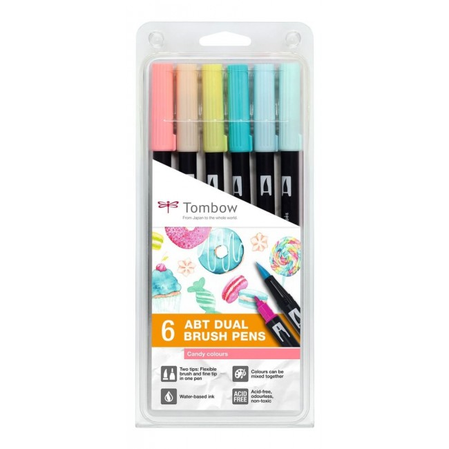 Lot 6 Feutres Tombow Dual Brush Couleurs Candy