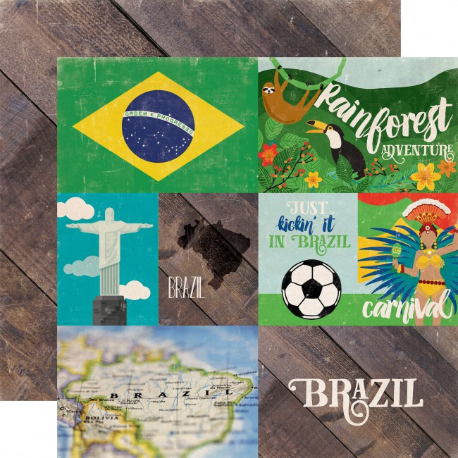 Papier Imprimé Recto-Verso 12x12 - Around The World - Brazil