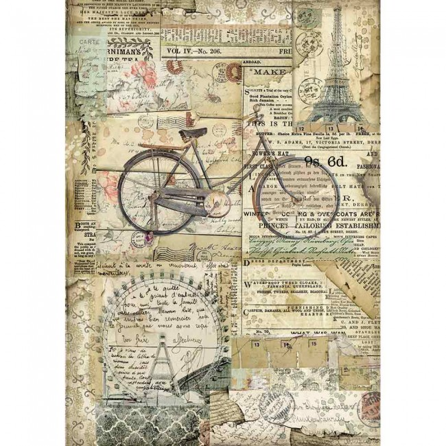 Papier de riz pour découpage A4 Around The World Bycicle