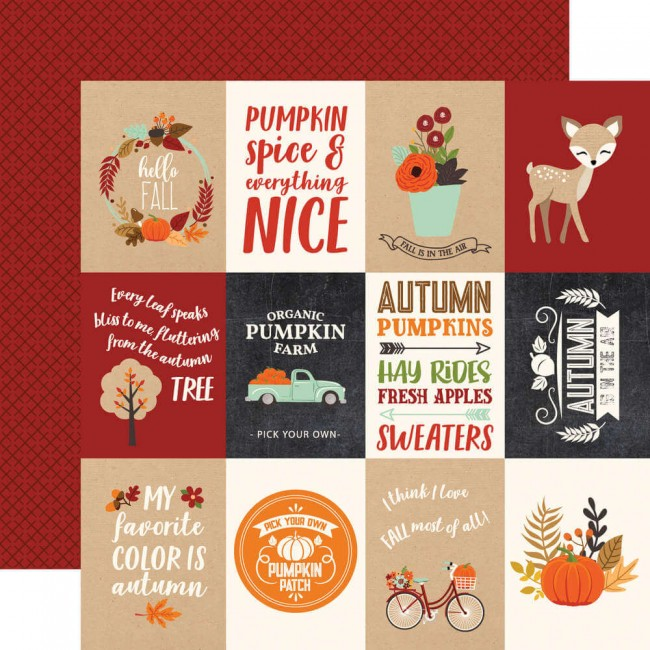 "Papier Imprimé Recto-verso 12x12 My Favorite Fall 3""X4"" Journaling Cards"