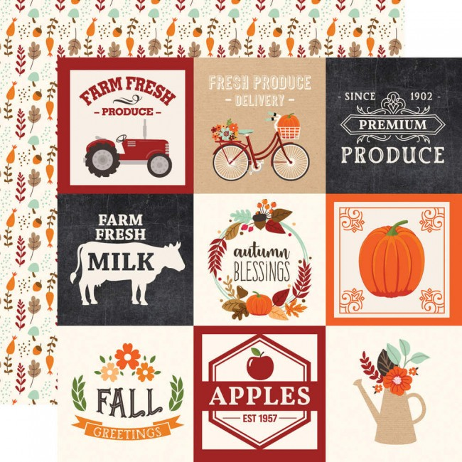 "Papier Imprimé Recto-verso 12x12 My Favorite Fall 4""X4"" Journaling Cards"
