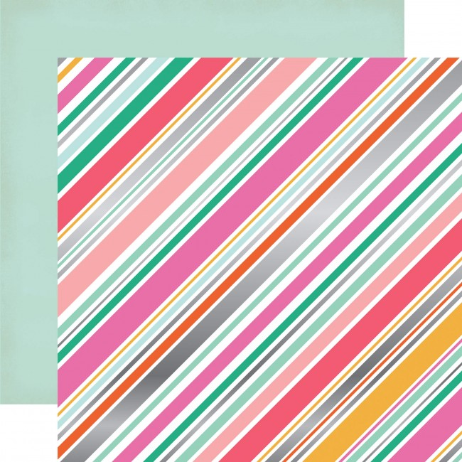 Papier Imprimé Recto-Verso 12x12 - Party Time - Diagonal Stripe
