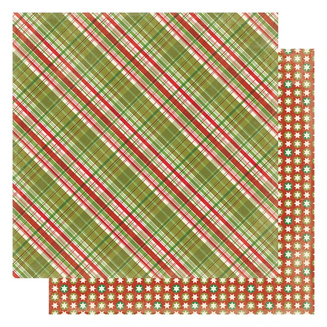 Papier Imprimé Recto-verso 12x12 Rejoice #6 Green & Red Plaid