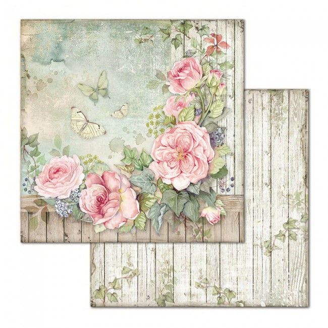 Papier Imprimé Recto-verso 12x12 House Of Roses Fence With Roses