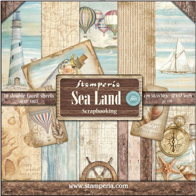 Kit Papiers Imprimés 12x12 Sea Land