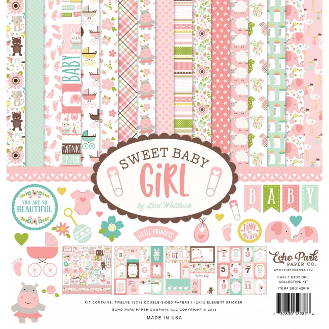 Kit Papiers Imprimés 12x12 Sweet Baby Girl