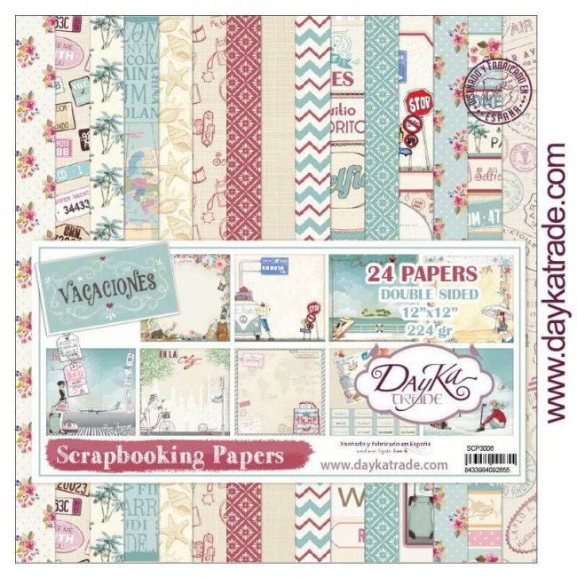 Stack Papiers Imprimés 12x12 Collection Vacaciones