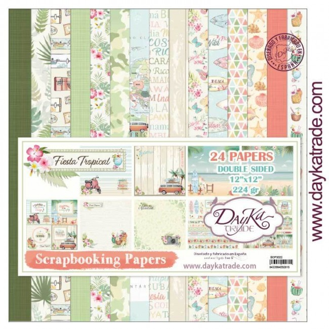 Stack Papiers Imprimés 12x12 Collection Fiesta tropical