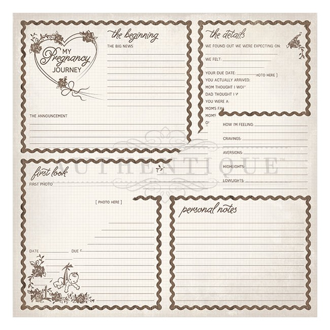 Papier Imprimé Recto-verso 12x12 Swaddle Girl #8 Pregnancy Journal Cut-Aparts