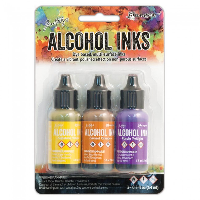 Lot 3 Alcohol Inks Summit View