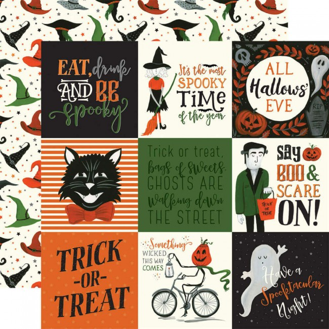 "Papier Imprimé Recto-verso 12x12 Trick Or Treat 4""X4"" Journaling Cards"