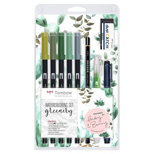 Lot Feutres Tombow Watercoloring Greenery