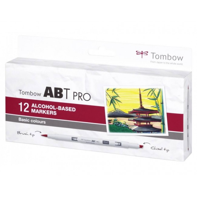 Set 12 Feutres Tombow ABT Pro Alcohol Colores Básicos