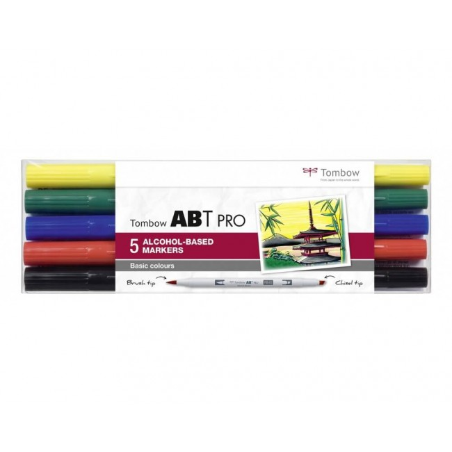 Set 5 Feutres Tombow ABT Pro Alcohol Colores Básicos