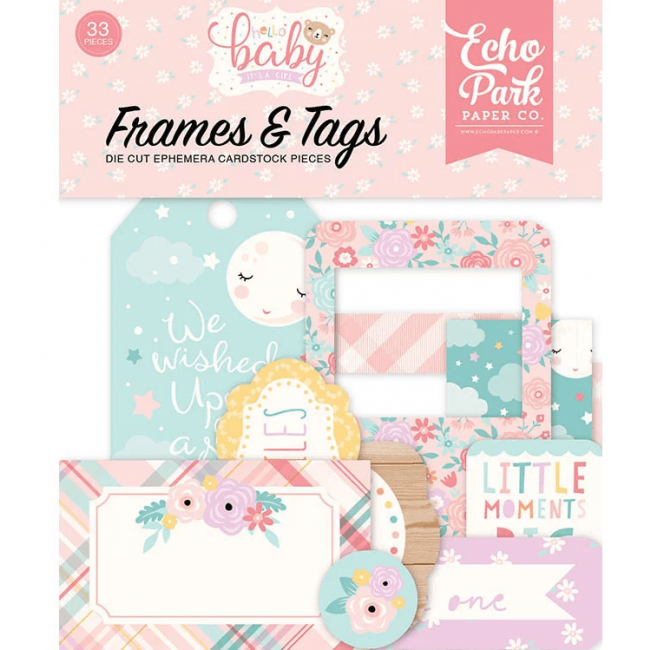 Die Cuts Hello Baby Girl Frames & Tags