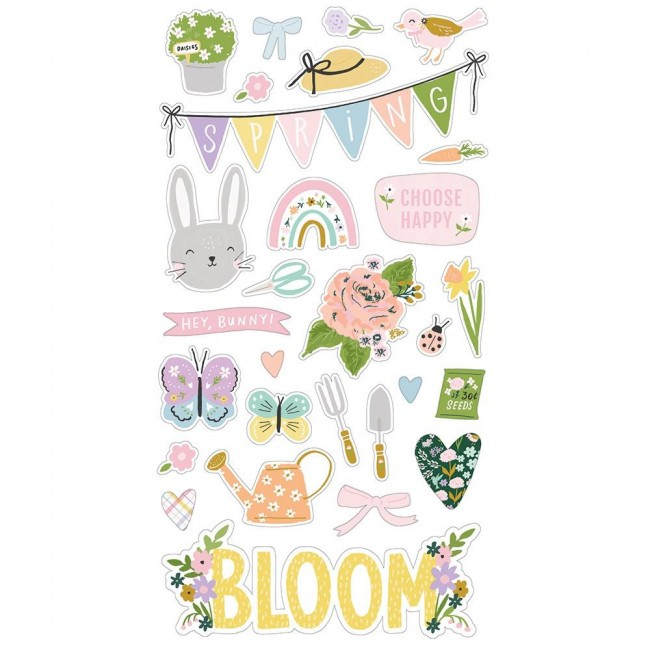 Chipboard 6x12 Bunnies & Blooms