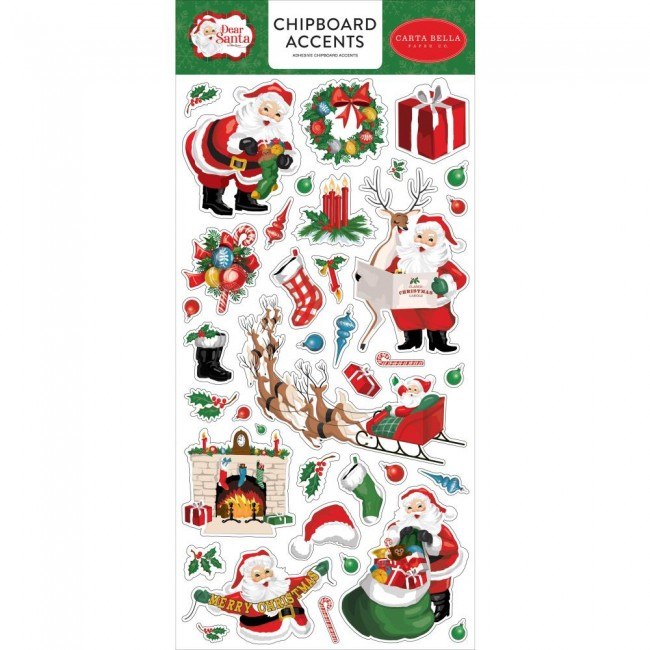Chipboard 6x13 Dear Santa Accents