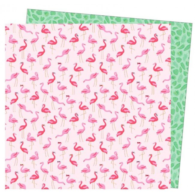 Papier Imprimé Recto-verso 12x12 Wild Card Damask Love Flock Star