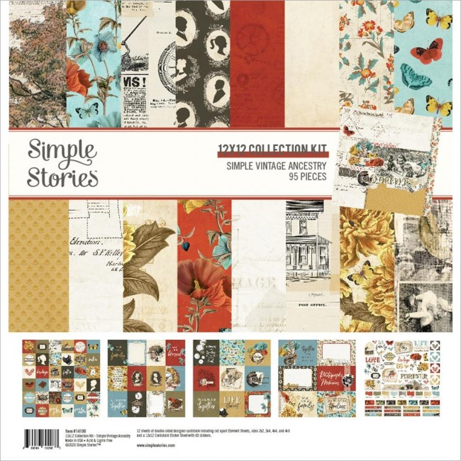 Kit Papiers Imprimés 12x12 et feuille de stickers Simple Vintage Ancestry