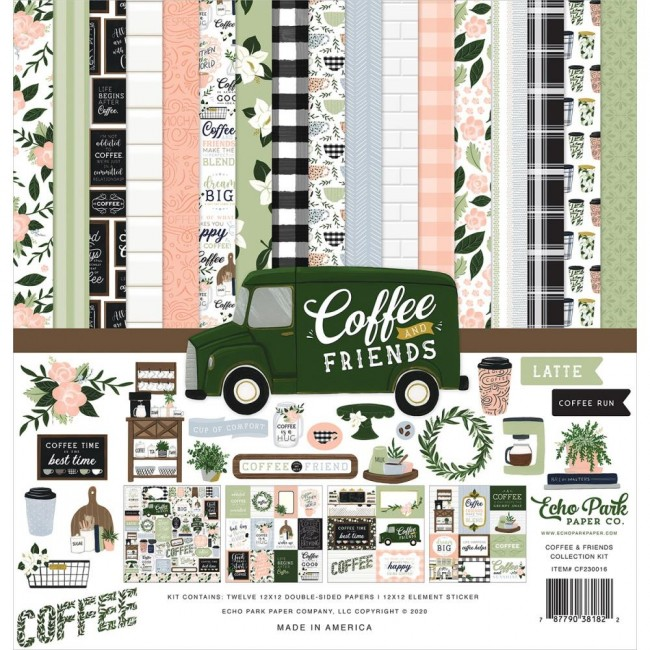 Kit Papiers Imprimés 12x12 et feuille de stickers Coffee and Friends