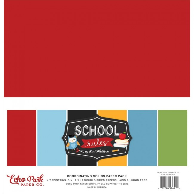 Kit Papiers Basiques 12x12 School Rules  6 Colors