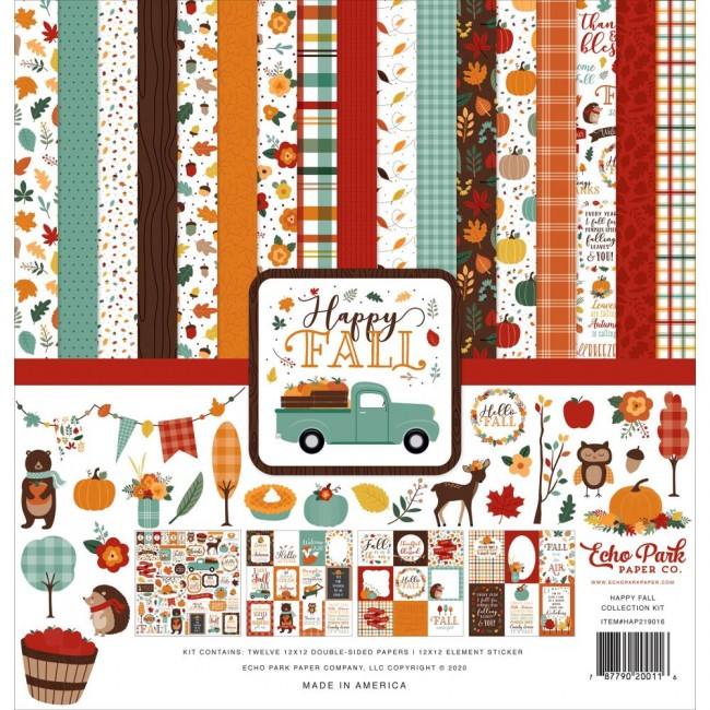 Kit Papiers Imprimés 12x12 et feuille de stickers Happy Fall