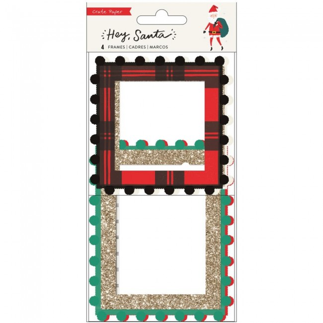 Cadres de chipboard et pompons Hey Santa With Gold Glitter Accents