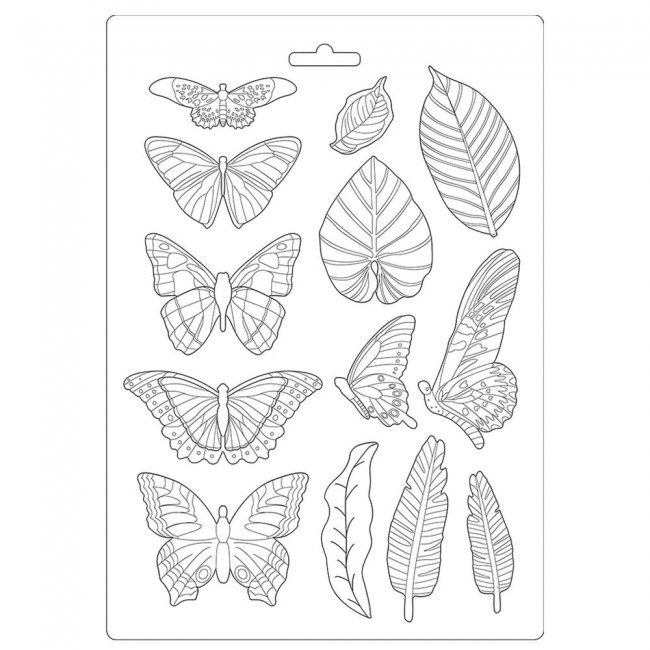 Moule A4 Amazonia by Cristina Radovan Leaves and Butterflies