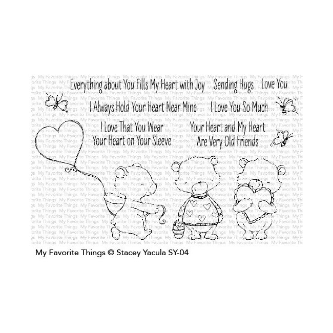Tampon Acrylique Joyful Heart Bears Clear Stamps