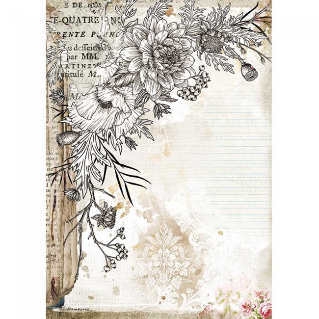 Papier de riz pour découpage A4 Romantic Collection Journal stylized flower