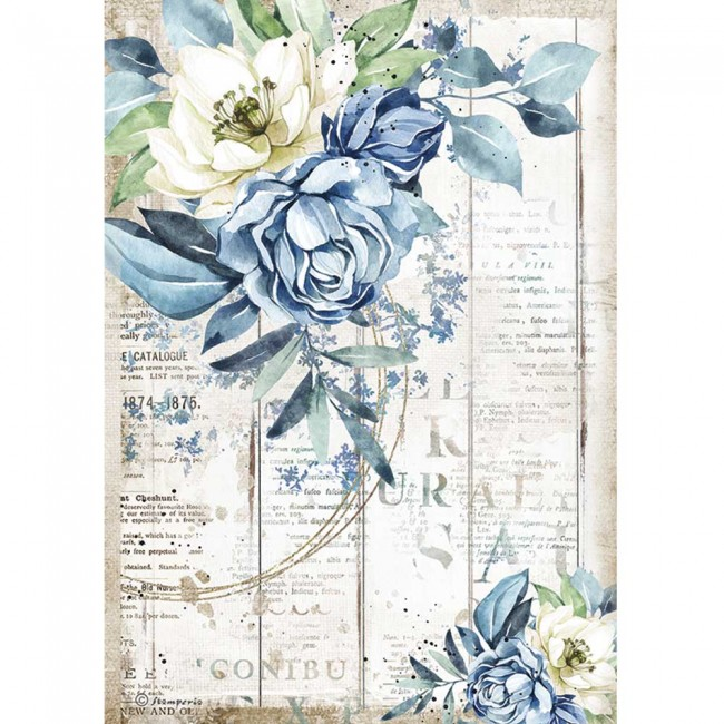 Papier de riz pour découpage A4 Romantic Collection Sea Dream blue flower