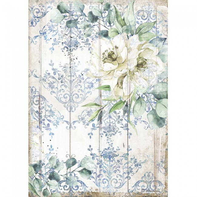 Papier de riz pour découpage A4 Romantic Collection Sea Dream white flower