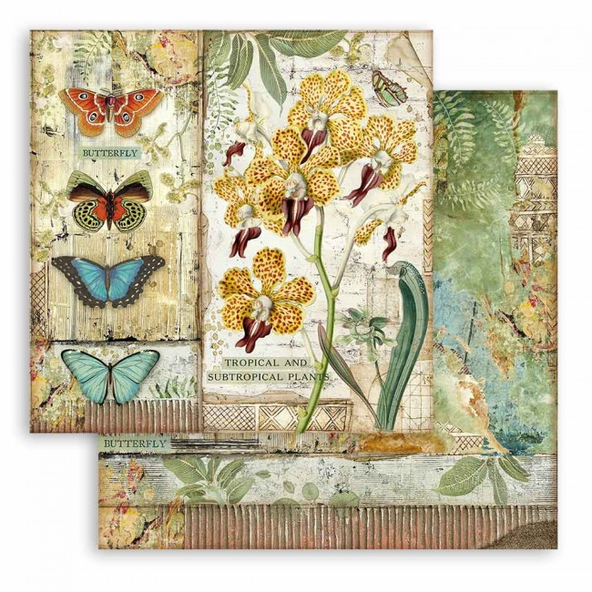 Papier Imprimé Recto-verso 12x12 Amazonia by Cristina Radovan Orchid and Butterfly