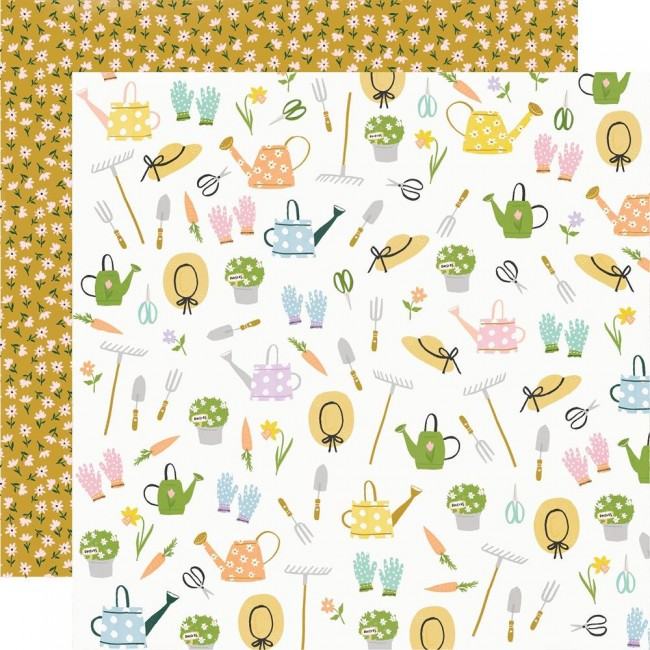 Papier Imprimé Recto-verso 12x12 Bunnies & Blooms Garden Party