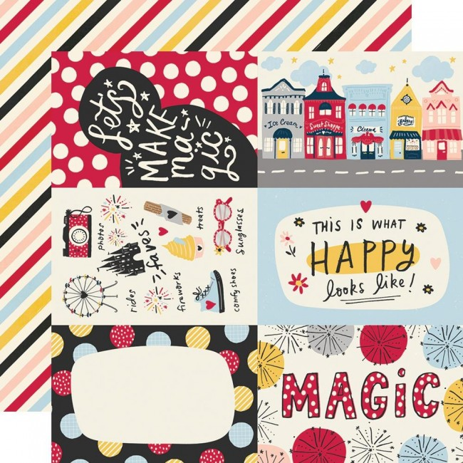 "Papier Imprimé Recto-verso 12x12 Say Cheese Main Street 4""X6"" Elements"
