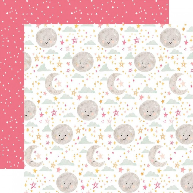 Papier Imprimé Recto-verso 12x12 Welcome Baby Girl Moon & Stars